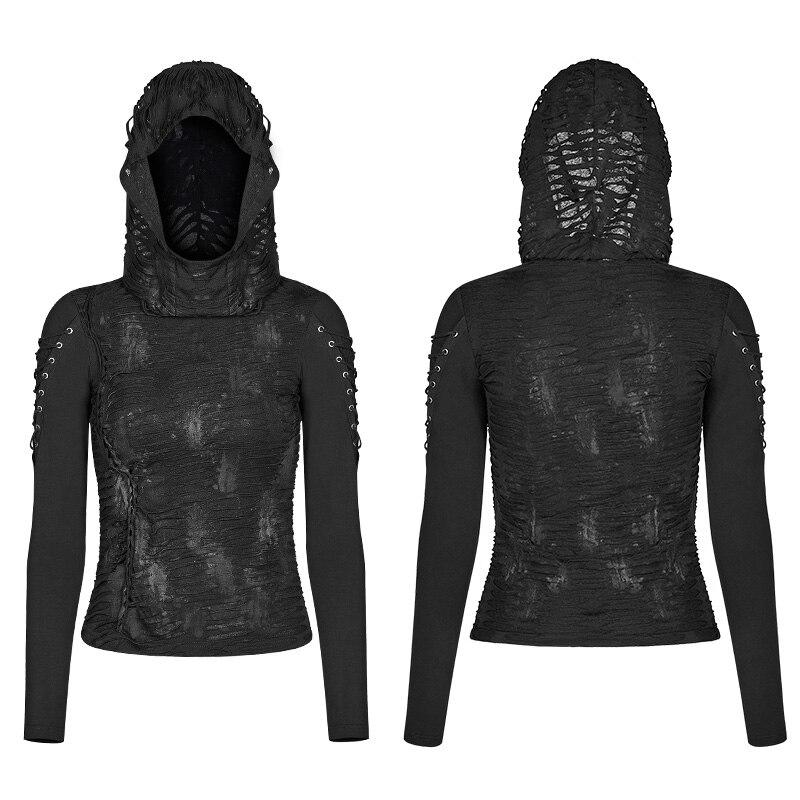 PUNK RAVE Women Gothic T shirt Fashion Hooded T shirt Casual Black Novelty Long Sleeve T shirt Personality Women Punk T shirt - 5