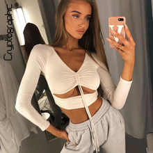 Cryptographic T-shirts Cotton Women Drawstring Sexy Hollow Out Ruched Crop Tops V-Neck Long Sleeve Solid T-shirts Femme Fashion цена и фото