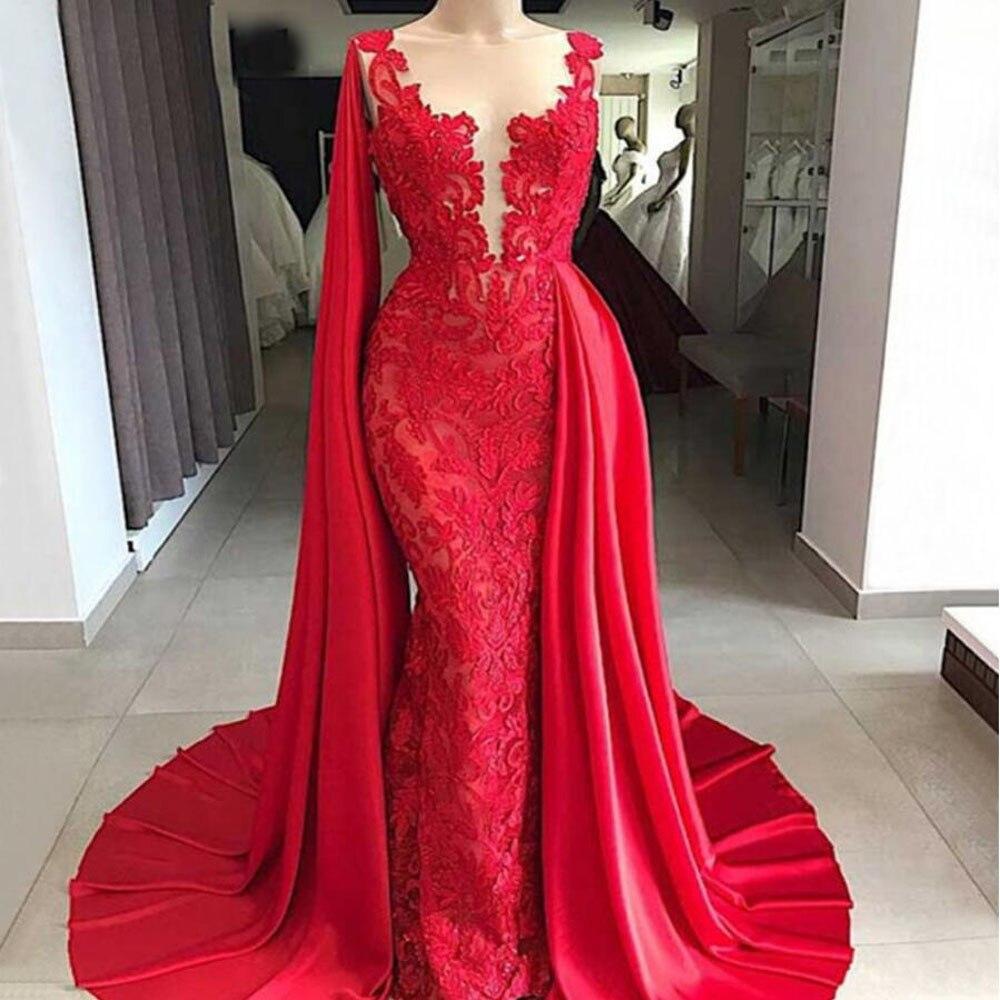 Rouge magnifique dentelle Robe de soirée 2020 personnaliser grande taille Illusion longue Satin Cape sirène formelle Robe de soirée Robe de soirée