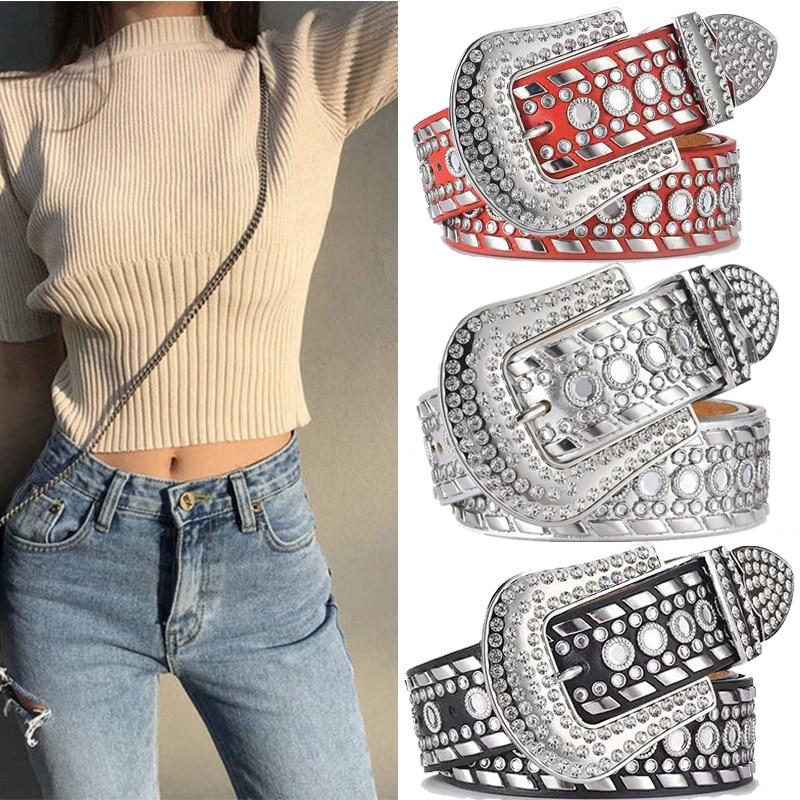 Luxury Brand New Fashion Luxury Strap Diamond Belt Western Crystal Studded Belt Cowgirl Cowboy Rhinestone Belt for Women and Men