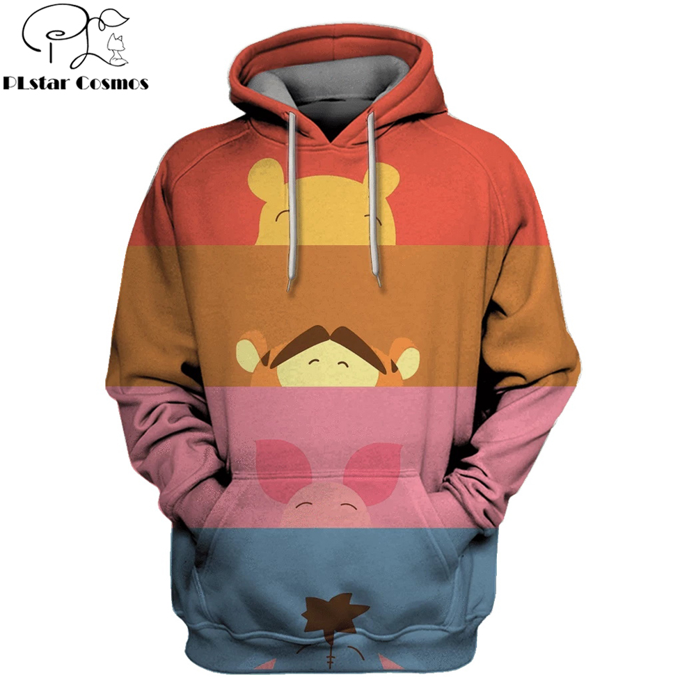 PLstar Cosmos 2019 Fashion Men hoodies Cute Winnie the Pooh Full Printed 3d Hooded Sweatshirt Unisex streetwear sudadera hombre