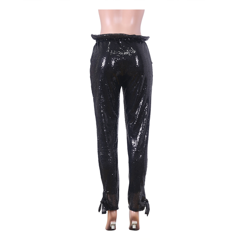 Adogirl Black Sequins Women Casual Pants with Lining Ruffle Waist Tie Cuff Pencil Pants Female Fashion Sexy Club Party Trousers Pants & Capris Women Bottom ! Plus Size Women's Clothing & Accessories
