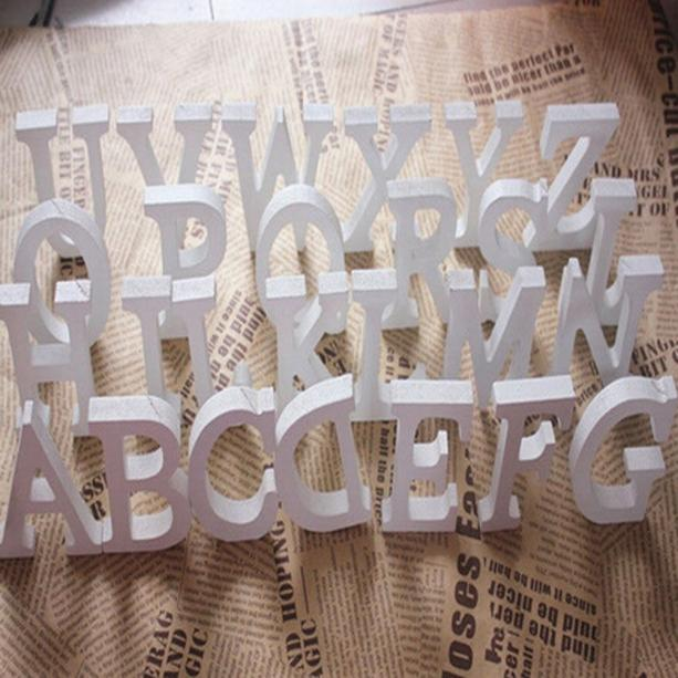 1pc Diy Freestanding Wood Wooden Letters White Alphabet Wedding Birthday Party Home Decorations Personalised Name Design