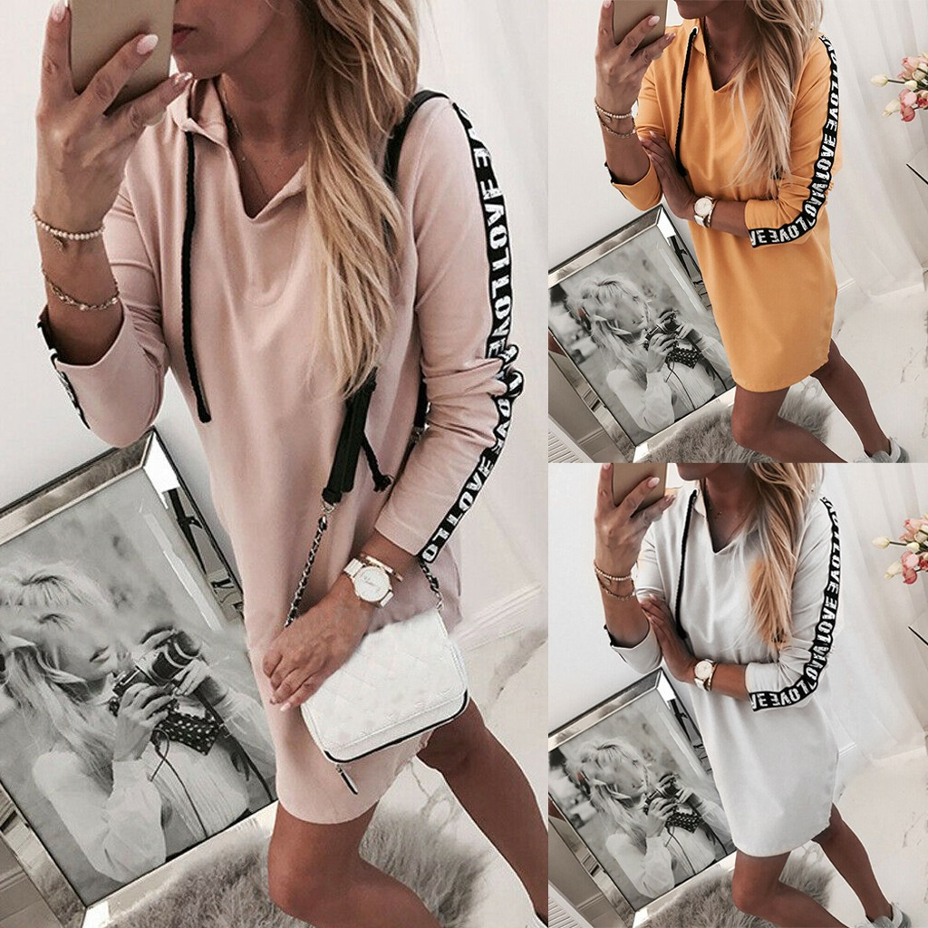 Women Hooded Dress plus size loose Long Sleeve Solid Color Jumper Pullover Sweatshirt Hoodie Hooded Dress Vestido con capucha*