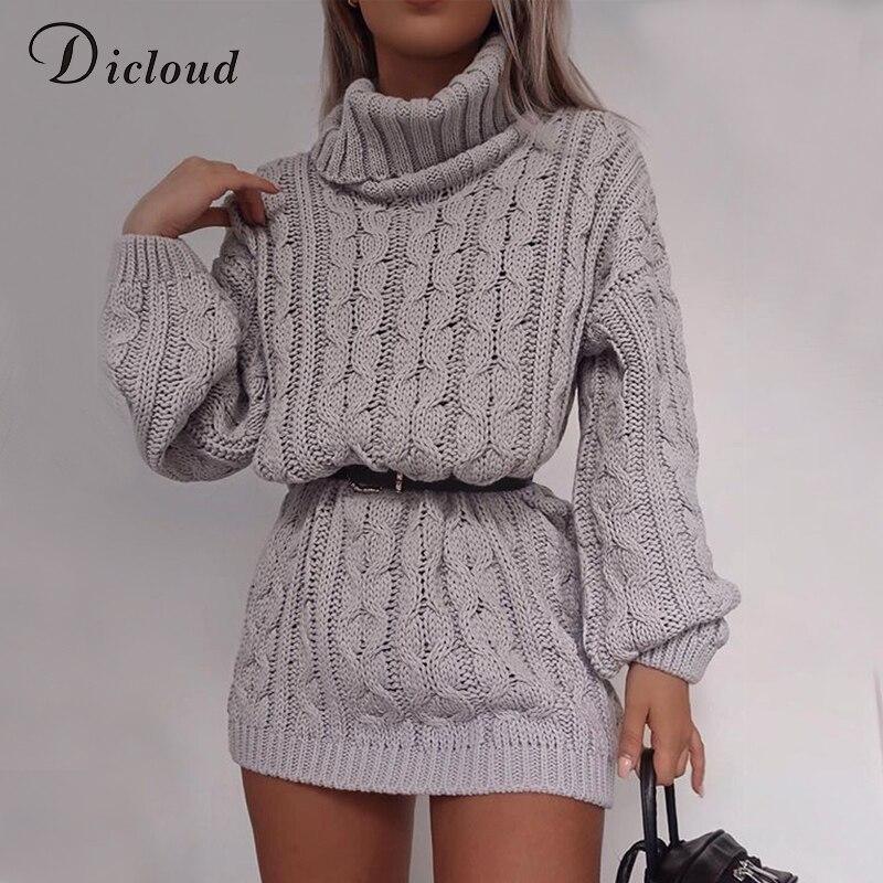 DICLOUD Causal Sweater Dress Women Knitted Long Sleeve Turtleneck Jumper 2019 Autumn Winter Dress Warm Oversize Clothing Female