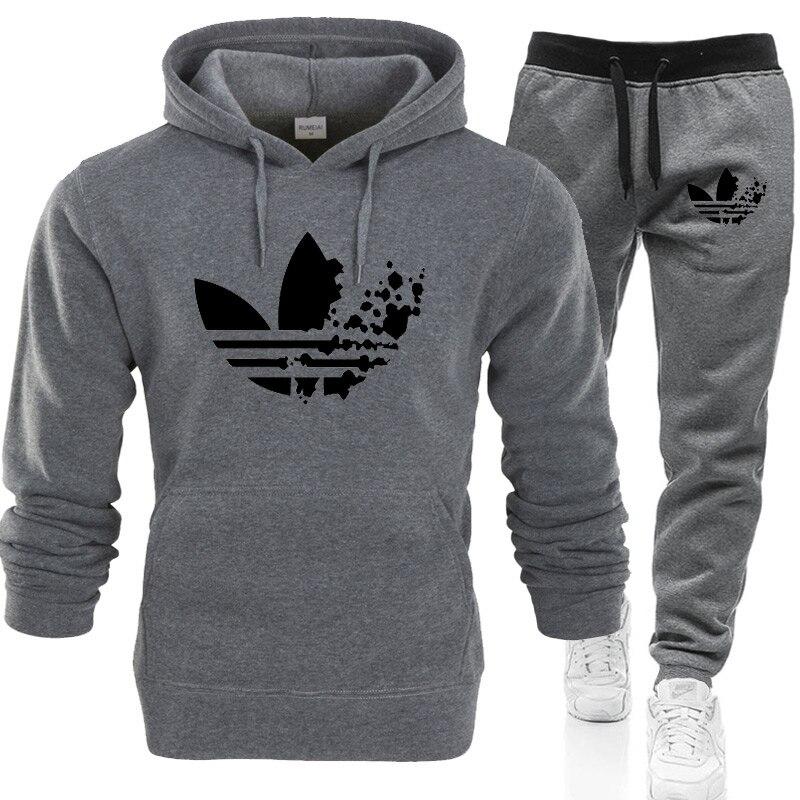 Pants Sportswear-Sets Sweatshirt Tracksuit Hoodie Thermal-Underwear Prints Fleece Male
