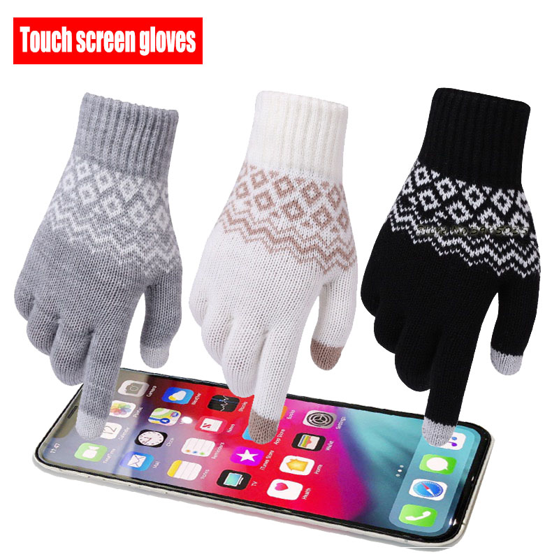Winter Anti Slip Touch Screen Gloves Women Men Warm Stretch Knit Mittens Imitation Wool Full Finger Cold Weather Windproof