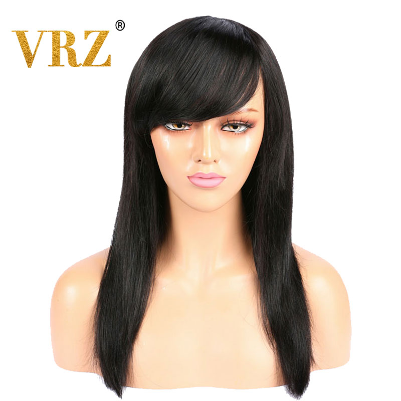 VRZ Straight 360 Lace Frontal Wig Pre Plucked With Bangs Middle Ratio Human Hair Wigs For Women Brazilian Hair Wigs 150% 180%
