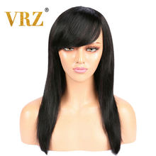 VRZ Straight 360 Lace Frontal Wig Pre Plucked With Bangs Middle Ratio Human Hair Wigs for Women Brazilian Hair Wigs 150% 180%(China)