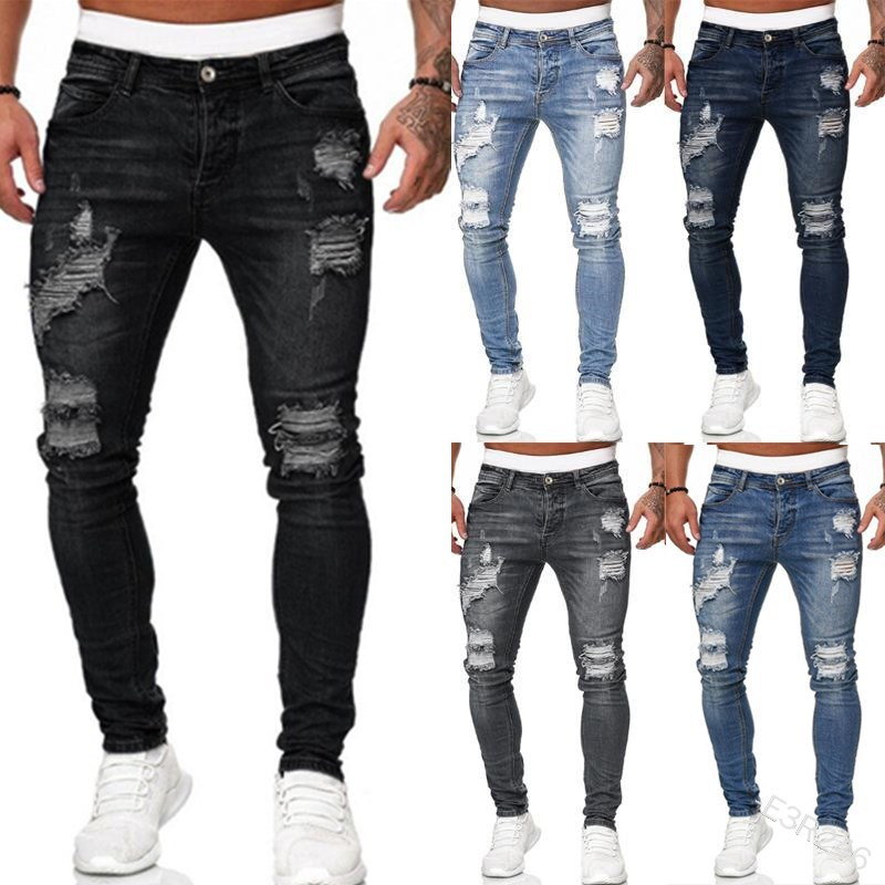 WEPBEL Denim Trousers Washed with Pleated Ripped Holes Button Skinny Pencil Jeans 2020 New Fashion Slim Fit Jeans Men Pants