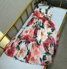 Runway 2021 Summer Sexy Spaghetti Strap backless Long Dress Women's Charming Red Camellia Flower Print Dresses Vestdios y448