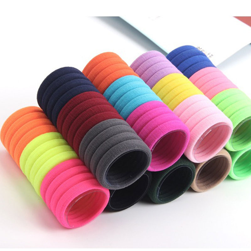 10 Pcs/Pack Women Solid Hair Rope Headwear Hairbands Multicolor Elastic Hair Bands Girls Ponytail Headdress D0243