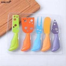XHRLYLB Горячий Нож для сыра из пяти предметов Кухня гаджет Нержавеющая сталь нож для сыра мульти-цветная ручка нож для пиццы выпечки Tool.9z