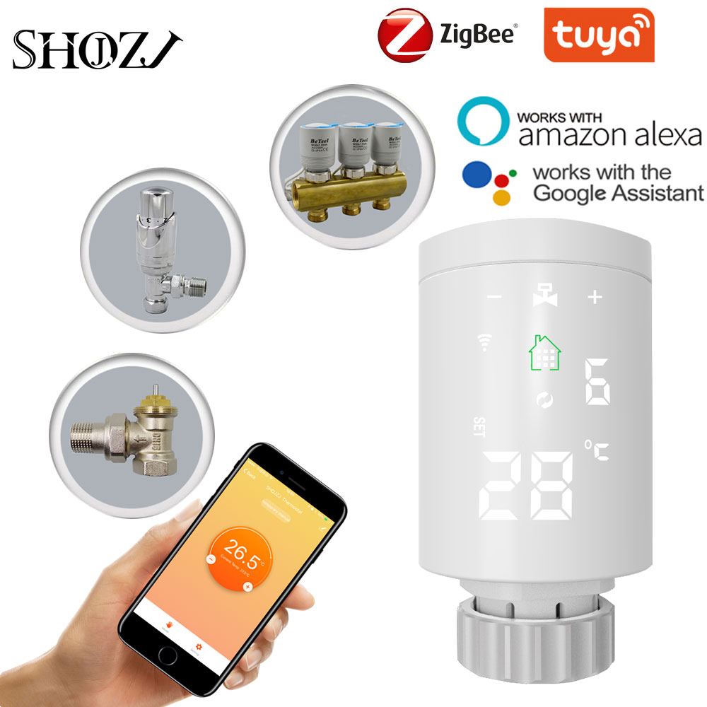 TUYA Zigbee TRV  Thermostat Valve  Thermostatic Radiator Valve Controller Heater Temperature Voice Control Works with Google Hom