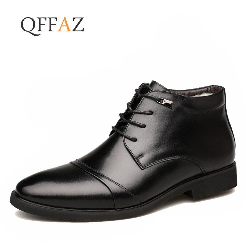 QFFAZ New Handmade Men Genuine Leather Winter Boots High Quality Snow Men Boots Ankle Boots For Men Business Dress Shoes Men
