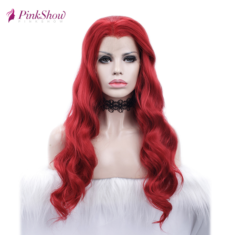 Pinkshow Deep Wave Red Lace Front Wig Glueless Synthetic Lace Front Wigs For Women Heat Resistant Fiber Cosplay Wig