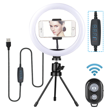 Dimmable LED Selfie Ring Light with Tripod Stand 7/11inch Makeup Lamp With Selfie Phone clip for Live Studio Photo Camera Video