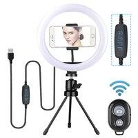 Możliwość przyciemniania LED Selfie lampa pierścieniowa z stojak trójnóg 7/11 cala lampka do makijażu z Selfie klips do telefonu dla Studio Live aparat fotograficzny wideo|Błyszczące oświetlenie|Lampy i oświetlenie -