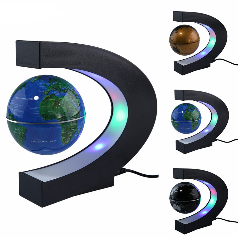 NEW Novelty Ball Lamp LED Floating Globe Lights C Shape Magnetic Levitation Floating Globe World Map Light For Desk Decoration