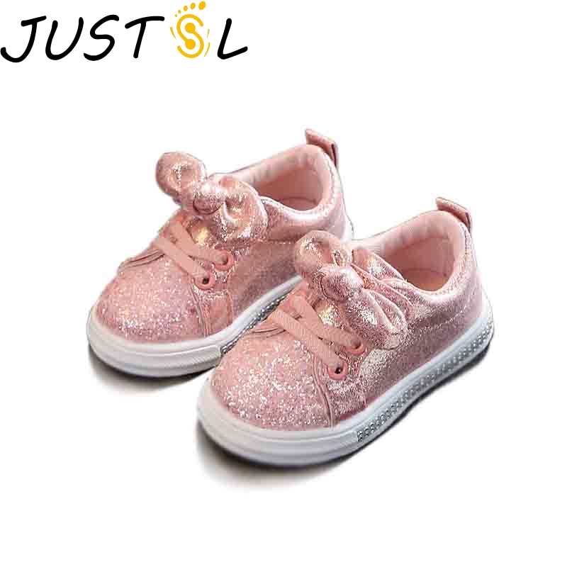 JUSTSL 2020 Spring Autumn Children's Casual Shoes Sequined Bow Girls Casual Fashion Sneakers Solid Baby Toddlers Shoes