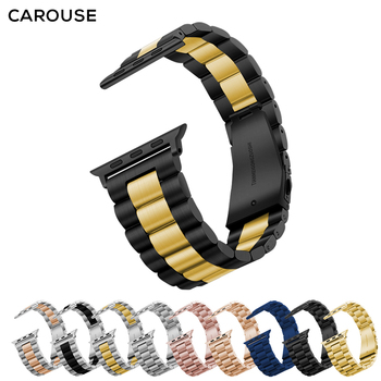 Carouse Stainless Steel Watchband For Apple Watch Band Series SE/6/5/4/3/2/1 38mm 42mm Metal Sport Strap For iWatch 40mm 44mm 2