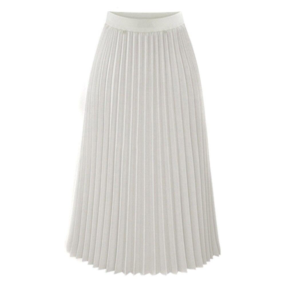 Женская модная юбка, однотонная, плиссированная, элегантная, ампир, миди, повседневная юбка, осень, эластичная талия, макси юбка, юбка женска - Цвет: White