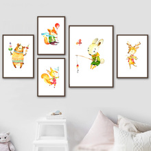 Wall Art Canvas Painting Balloon Butterfly Fox Rabbit Bear Deer Nordic Posters And Prints Cartoon Animal Pictures Kids Room