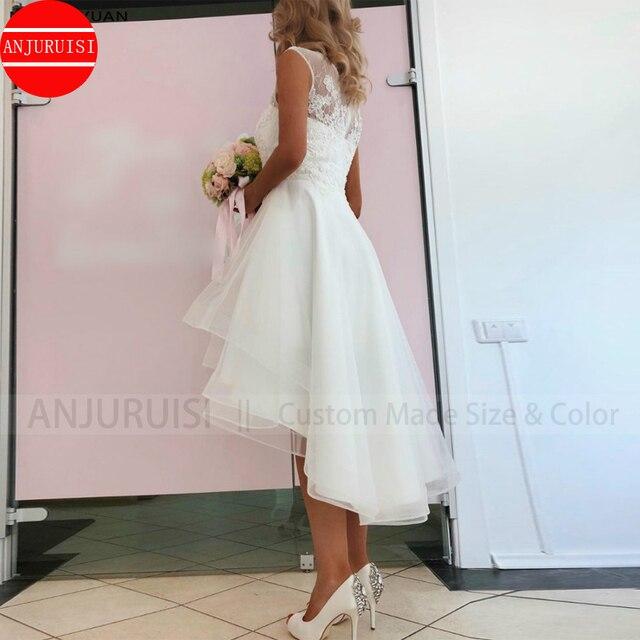 Sexy Vestido De Noiva Simple Lace Short Wedding Dress 2020 Boho High Front Low Back Beach Bridal Gown Beaded Appliques Organza 2