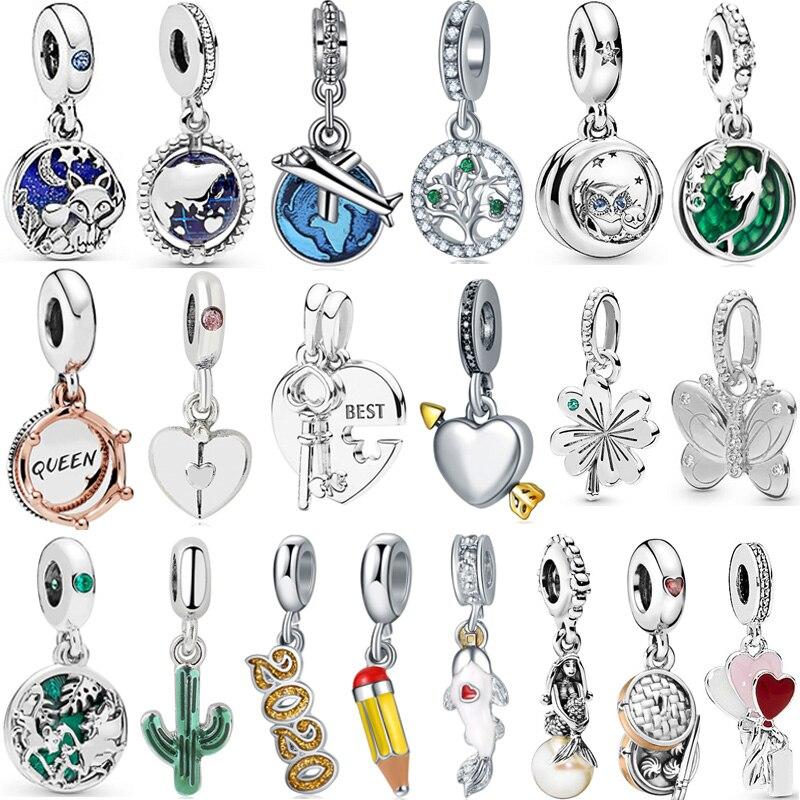 2019 New Original Alloy Beads Enamel Princess Dress Minnie Mickey Dangle Charm Fit Pandora Bracelets Bangles DIY Women Jewelry(China)