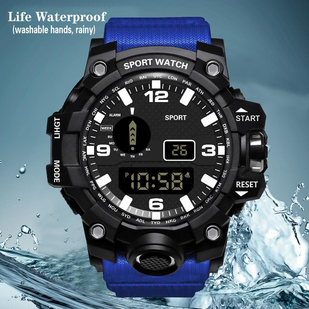 HONHX Waterproof Mens Watches New Fashion Casual LED Digital Outdoor Sports Watch Men Multifunction Student Wrist Watches @5