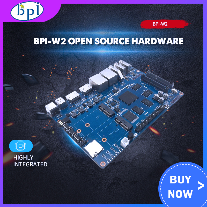 Banana Pi W2 BPI-W2 + Acrylic Case + 12V 2A DC Power For Banana Pi W2 Smart NAS Router RTD1296 Chip Design For Game Center