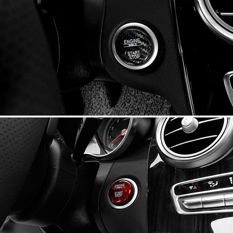 Araba motoru Start Stop düğmesi dekoratif Sticker kapak için Mercedes Benz C E W246 W205 GLC AMG ML GLE