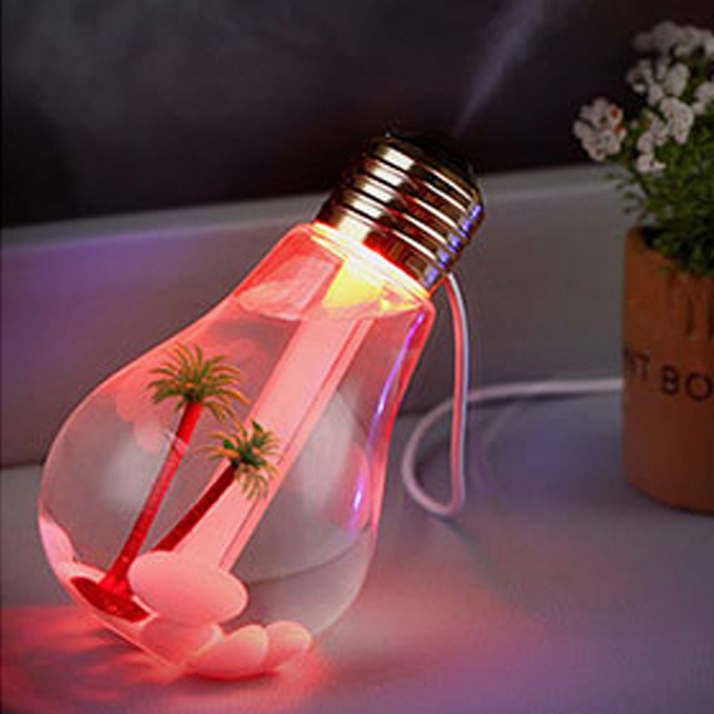 400ml LED Lamp Air Ultrasonic Humidifier Essential Oil Diffuser Atomizer Air Freshener Mist Maker With LED Night Light Bulb #N