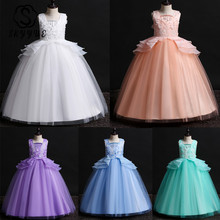 Skyyue Girl Pageant Dress Appliquie Lace Flower Tulle Flower Girl's Dresses for Wedding O-neck Bow Communion Gowns 2019 739 skyyue girl princess dress appliquie flower tulle flower girl dresses for wedding o neck crystal communion gowns 2019 5002