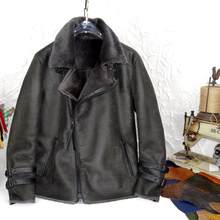 American Retro Grass Gray Green Color Original Ecological Leather and Fur in One Men's Genuine Leather Clothes Warm Jacket(China)