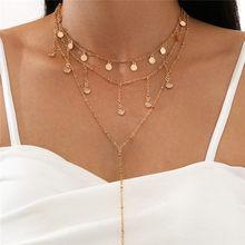 Модные Многослойные Длинные ожерелья с блестками Modyle, ожерелье с кулоном в богемном стиле с цирконом, ожерелье для женщин, бижутерия, аксесс...