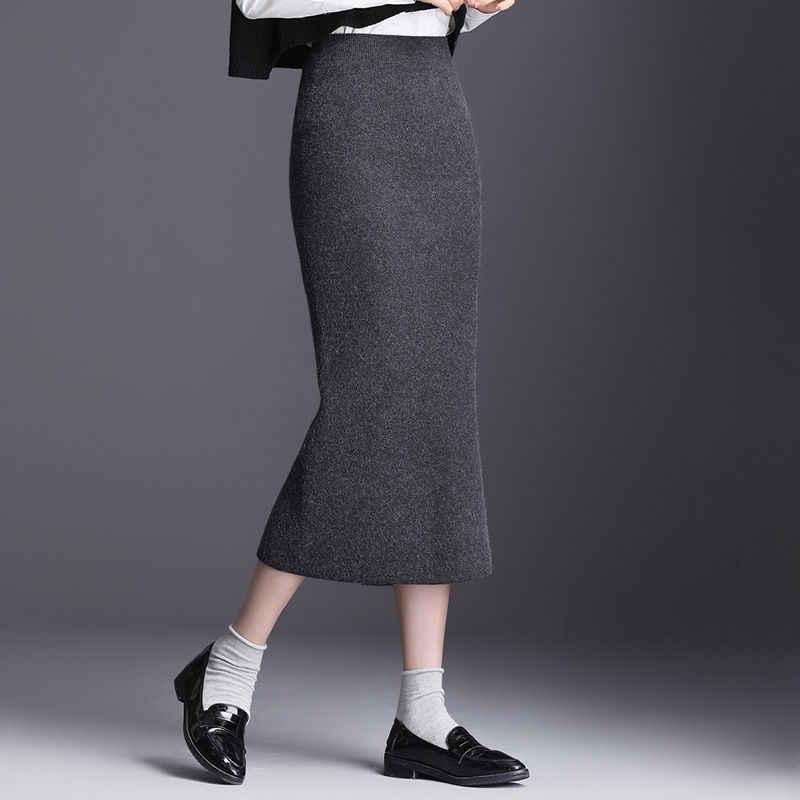 Unfaded thick knitted bag skirt wool skirt mid-length open fork step skirt women's autumn/winter 2019 black