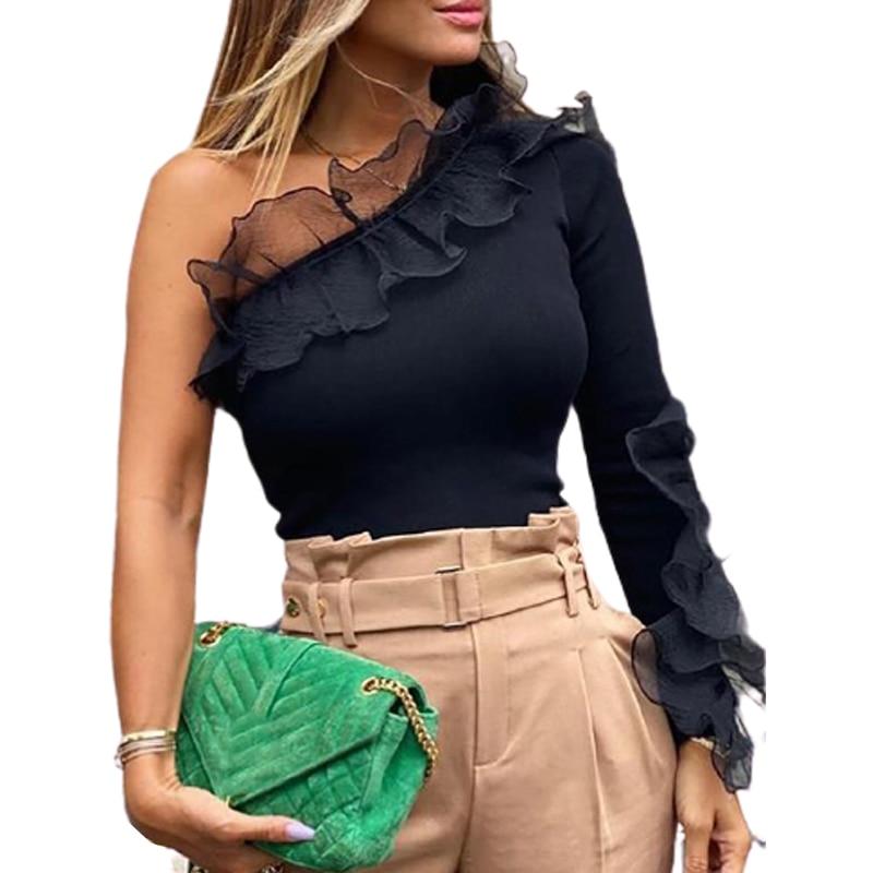 2021 Sexy Eine Schulter Mesh Rüschen Patchwork Dünne Dünne Langarm Schwarze Gestrickte T-shirt Frauen Tops Herbst Koreanischen Tees Sj7014X