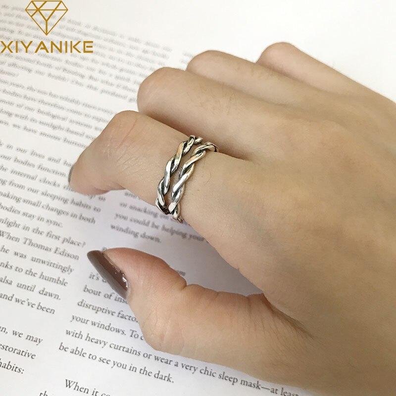 Женское винтажное плетение XIYANIKE, кольцо ручной работы из стерлингового серебра 925 пробы, вечерние ювелирные изделия из тайского серебра|Кольца|   | АлиЭкспресс