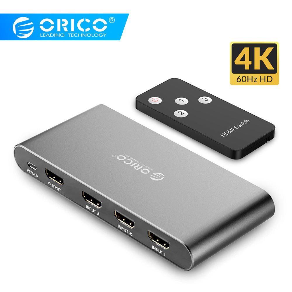 ORICO HDMI 2.0 Splitter Switch 3 Port 4K 60Hz 1080P KVM Switch With Infrared Remote Control USB HDMI For DVD HDTV Xbox PS3/4