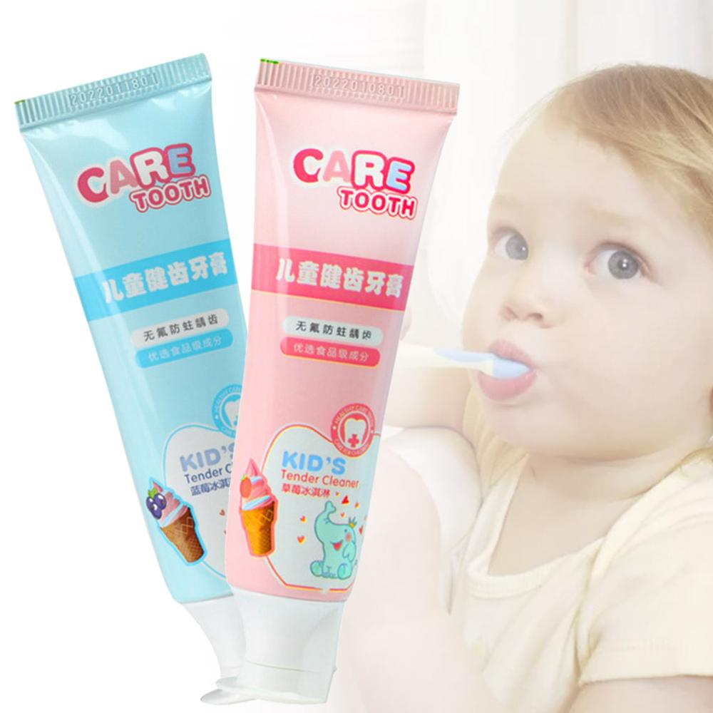 Kids Fruit Toothpaste Anticavity Toothpasts Fluoride Free Blueberry or Strawberry Flavor Teeth Cleaning Oral Care