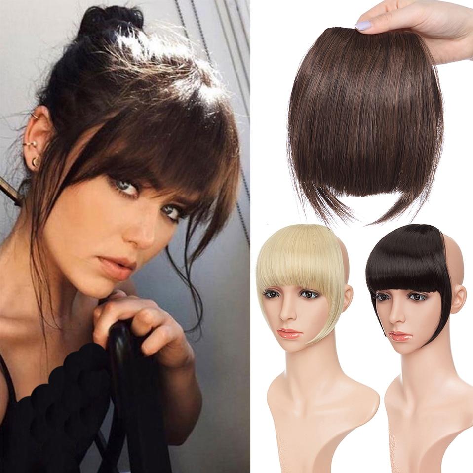 SNOILITE клип в Челка наращивание волос чёрный; коричневый блонд Поддельные парик с челкой 18 цветов синтетические прямая челка для женщин
