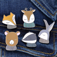 Cartoon animal brooch Cute fox/rabbit/bear enamel pins Lapel clothing metal collar needle Backpack hat kawaii