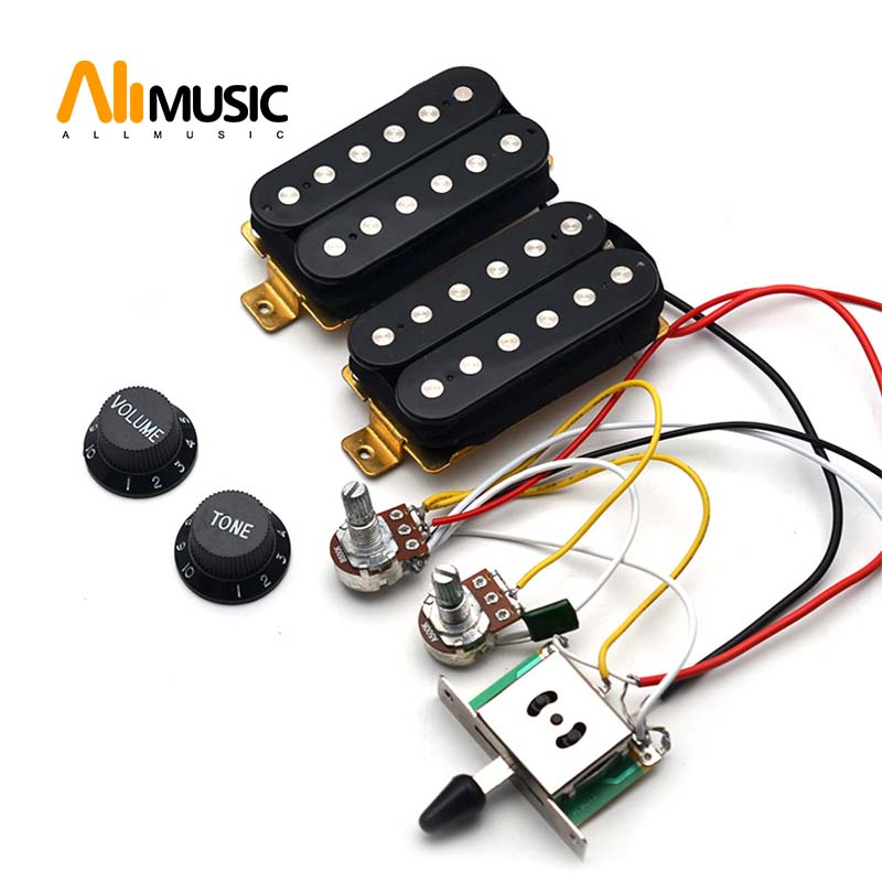 Guitar Humbucker Pickups With 3-way Switch 500K Potentiometer 1T1V Wiring Harness Prewired Black
