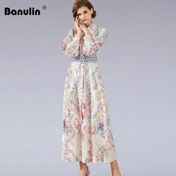 цена на Print Beach Boho Long Maxi Dress Banulin Brand Runway Designer Long Lantern Sleeve Vintage European Style High Quality Floral