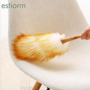 Plumero de lana suave grande para el hogar, cepillo antiestático para el hogar, plumero de plumas, removedor de polvo de coche, limpiador de brocha para polvos, blanco