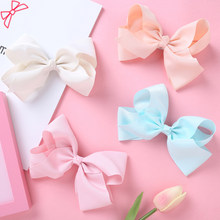 2020 NEW Solid Colour Hair Clips For Girls Nylon Soft Hairpins Gifts Big Hair Bows Children Cute Hairwear Hair Accessories Kids(China)