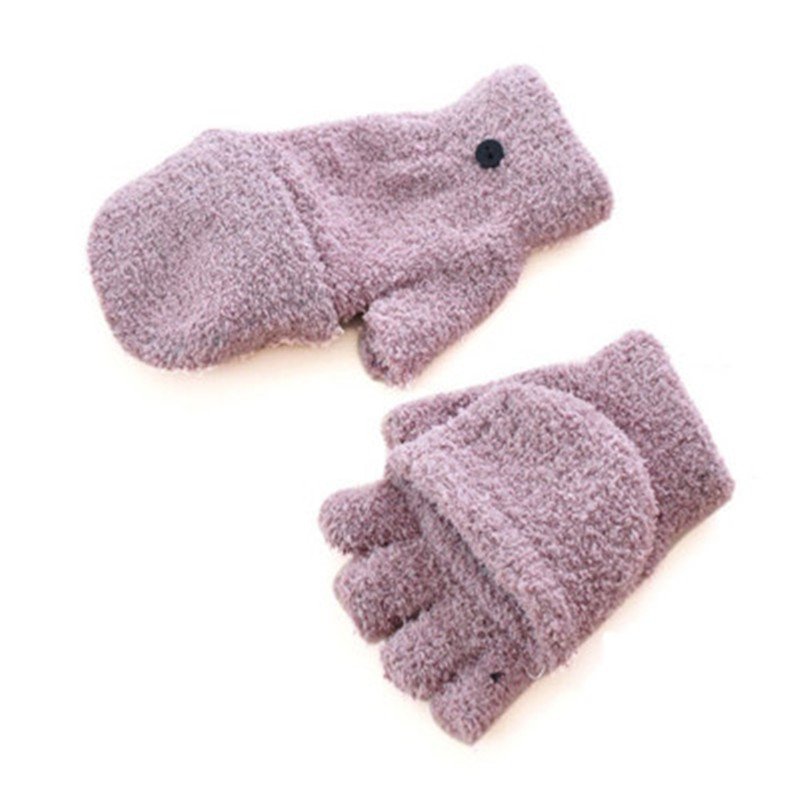 Pure Color Plush Gloves Winter Adult Warm Students Half Finger Fold Women's Knitting Gloves Japanese And Korean Lovely Style