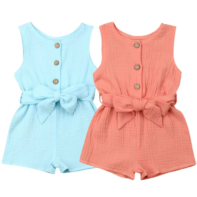 Summer Casual Toddler Infant Baby Girls Sleeveless Rompers Fashion Sleeveless Solid Kids Beach Outfit Jumpsuit Clothes With Belt