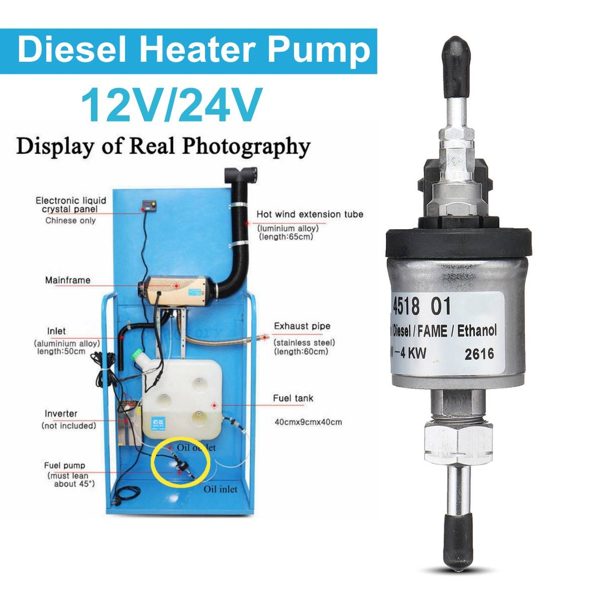 12 V/24 V 10A 22Mpa 1000 W-8000 W Voor Eberspacher Elektrische Kachel Olie Brandstofpomp Air parking Heater Auto Styling Accessoires